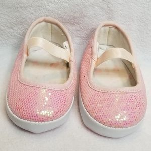🍋 Baby Girl Pink Sparkle Slip On Crib Shoes